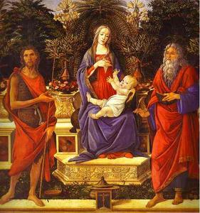 Sandro Botticelli - Virgin and Child Enthroned between Saint John the Baptist and Saint John the Evangelis
