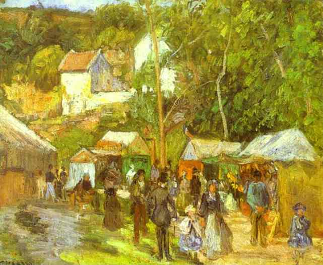 famous painting A Fair at the Hermitage near Pontoise of Camille Pissarro