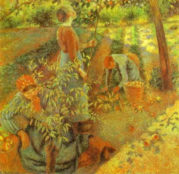 famous painting Apple Picking of Camille Pissarro