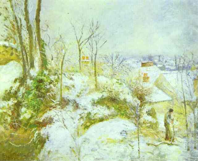 famous painting Cottage at Pontoise in the Snow of Camille Pissarro