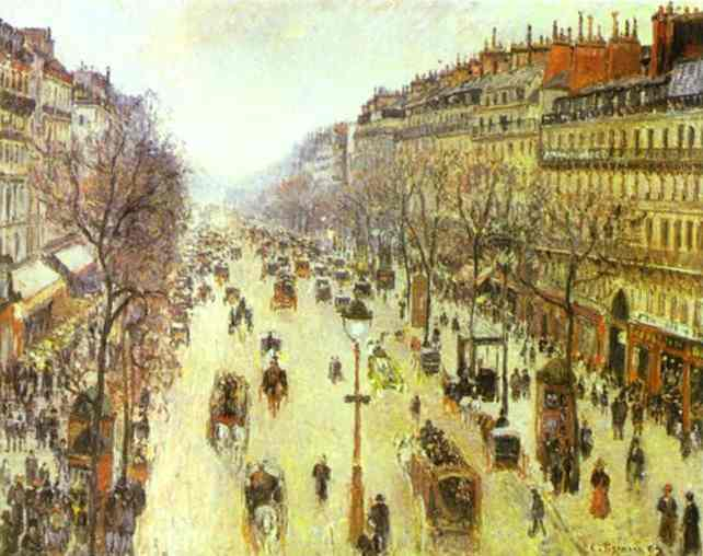 famous painting The Boulevard Montmartre on a Cloudy Morning of Camille Pissarro