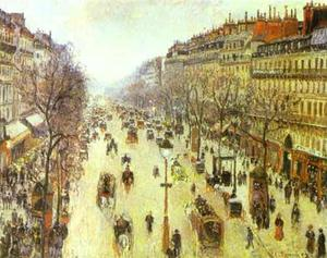 Camille Pissarro - The Boulevard Montmartre on a Cloudy Morning