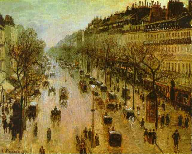 famous painting The Boulevard Montmartre on a Winter Morning of Camille Pissarro