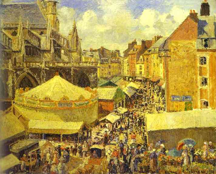 famous painting The Fair at Dieppe. Sunny Morning. (La foire Ó Dieppe. Matin, soleil) of Camille Pissarro
