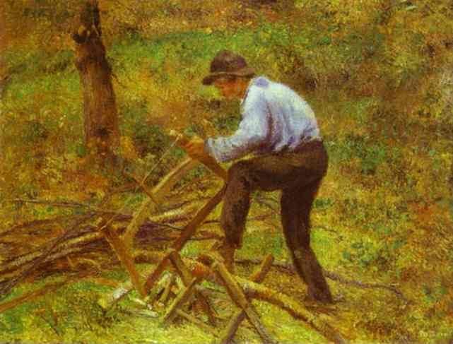 famous painting The Woodcutter of Camille Pissarro