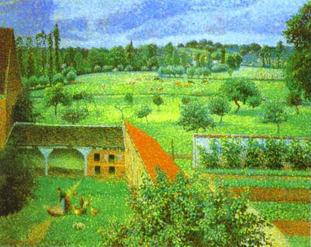 famous painting View from the Artist's Window at Eragny of Camille Pissarro