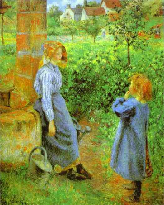 famous painting Woman and Child at a Well of Camille Pissarro