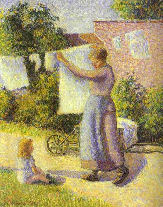 famous painting Woman Hanging Laundry of Camille Pissarro