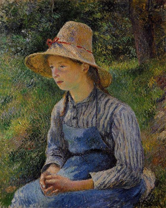 famous painting Young Peasant Girl Wearing a Hat of Camille Pissarro
