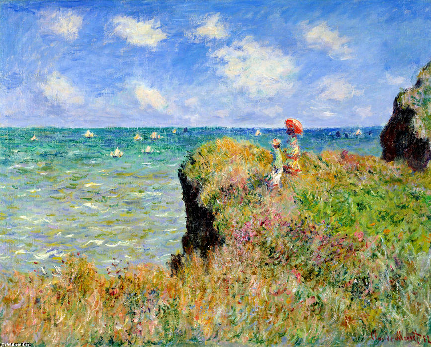 famous painting Clifftop Walk at Pourville of Claude Monet