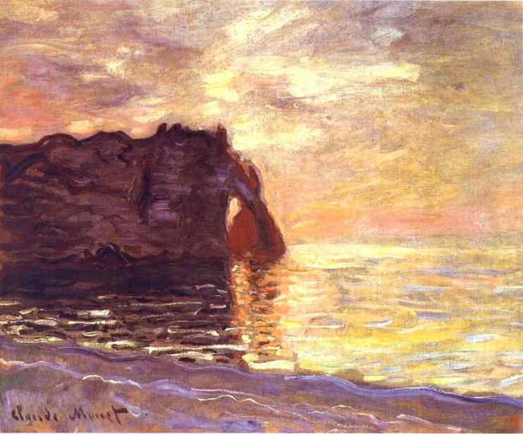 famous painting Etretat. The End of the Day of Claude Monet