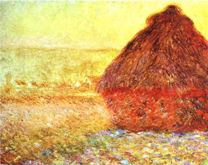 famous painting Haystack at the Sunset near Giverny of Claude Monet