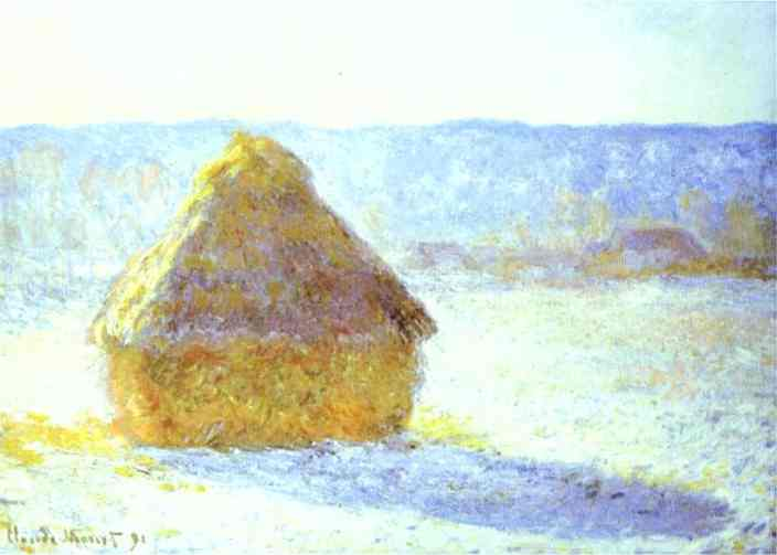 famous painting Haystack, Snow Effects, Morning of Claude Monet