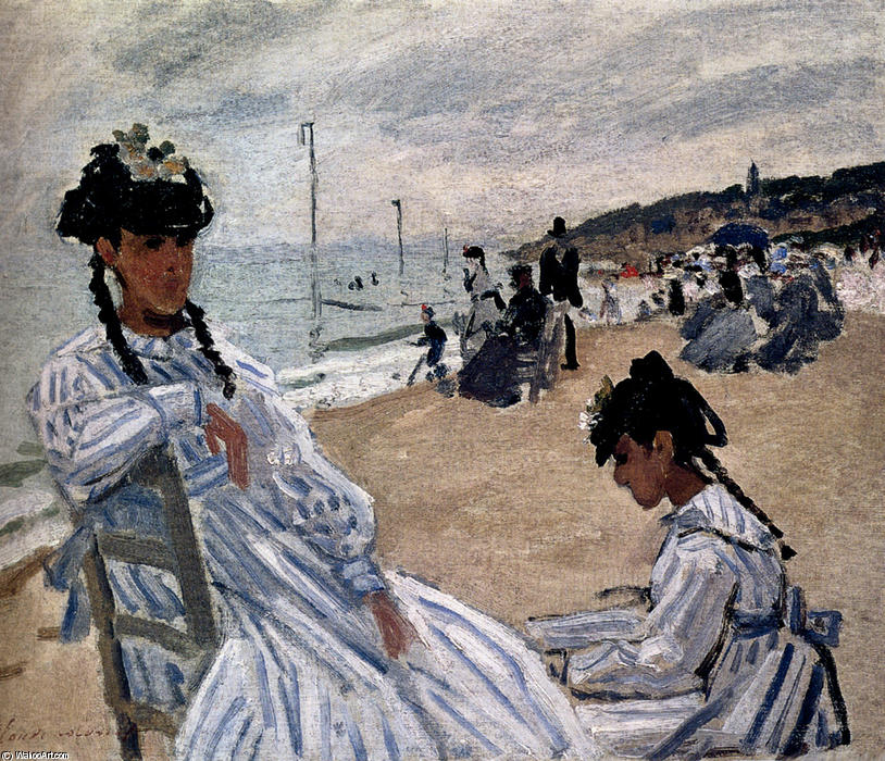 famous painting On The Beach At Trouville of Claude Monet