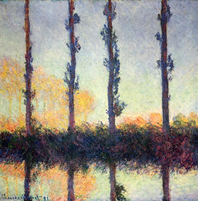 famous painting Poplars (Four Trees) of Claude Monet
