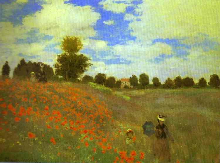 famous painting Red Poppies at Argenteuil of Claude Monet