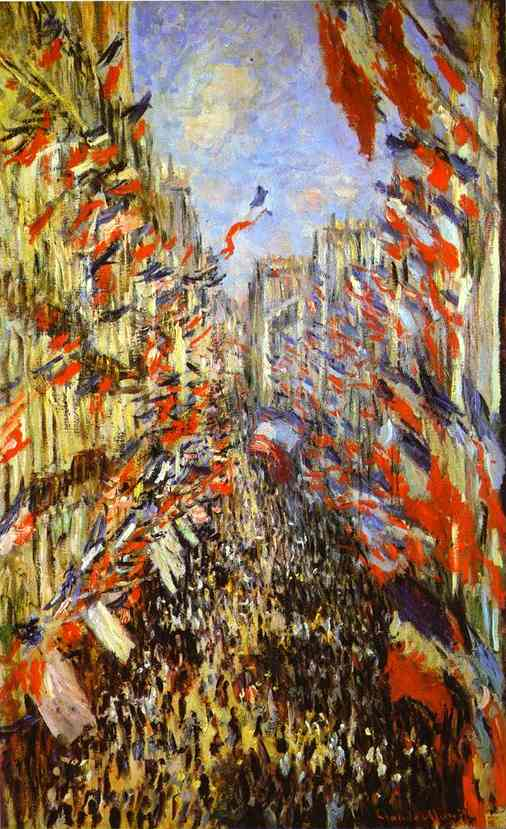famous painting Rue Montorgueil, Paris, Festival of June 30, 1878 of Claude Monet