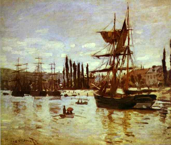 famous painting Ships at Rouen of Claude Monet