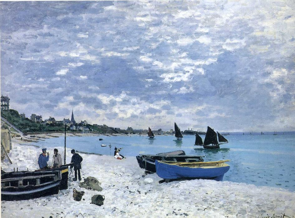 famous painting The Beach at Sainte-Adresse of Claude Monet