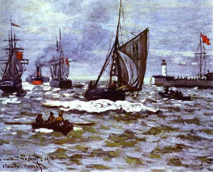 famous painting The Entrance to the Port of Honfleur of Claude Monet