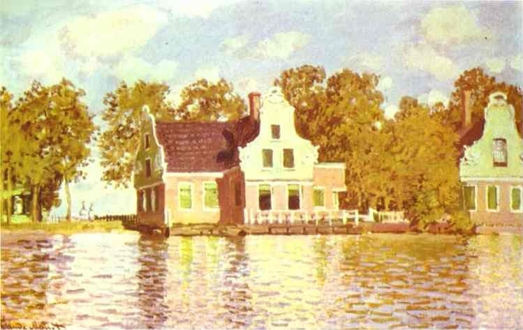 famous painting The House on the River Zaan in Zaandam of Claude Monet