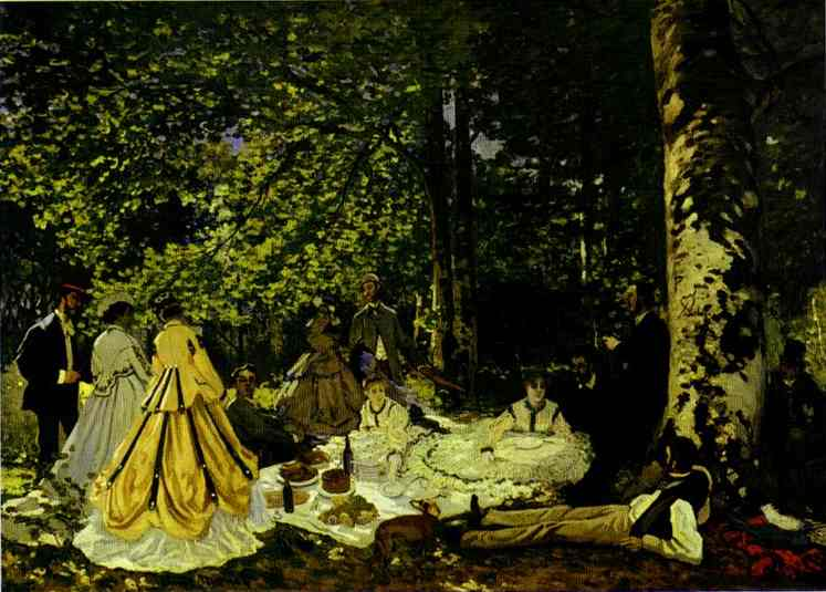 famous painting The Picnic (Le dejeuner sur lÆherbe) of Claude Monet