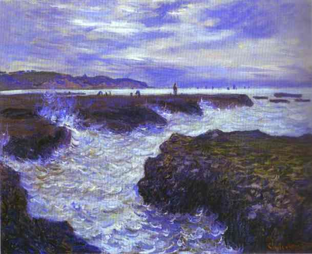 famous painting The Rocks near Pourville at Ebb Tide of Claude Monet