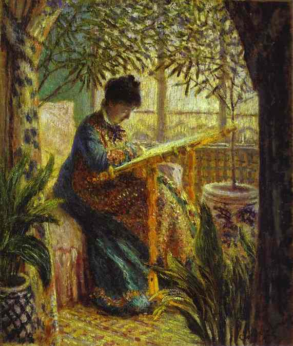 famous painting Madame Monet Embroidering of Claude Monet