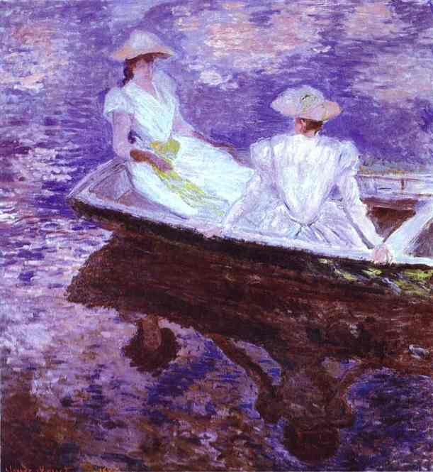 famous painting Young Girls in a Boat of Claude Monet