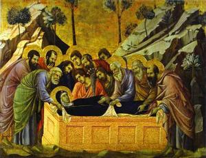 Duccio Di Buoninsegna - MaestÓ (front, crowning panels), The Entombment of the Virgin