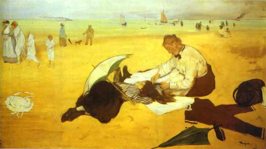 famous painting At the Beach of Edgar Degas