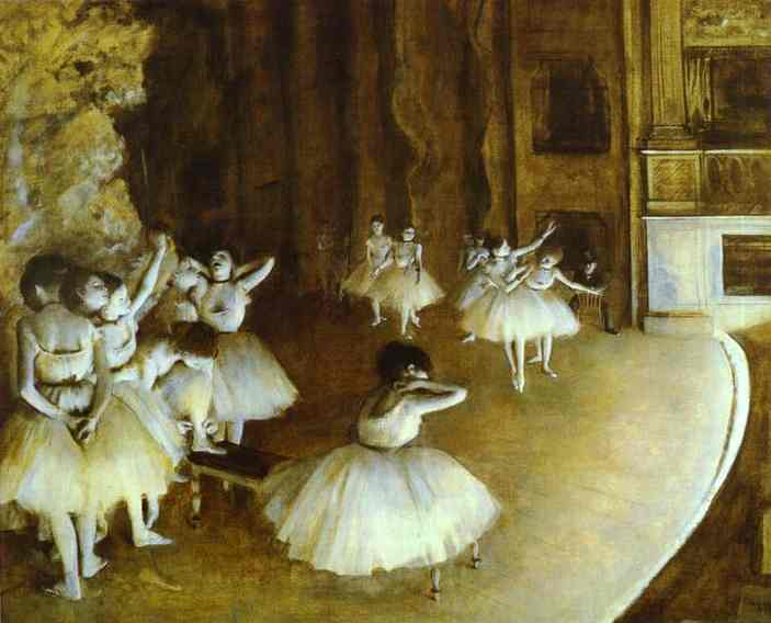 famous painting Ballet Rehearsal on Stage of Edgar Degas