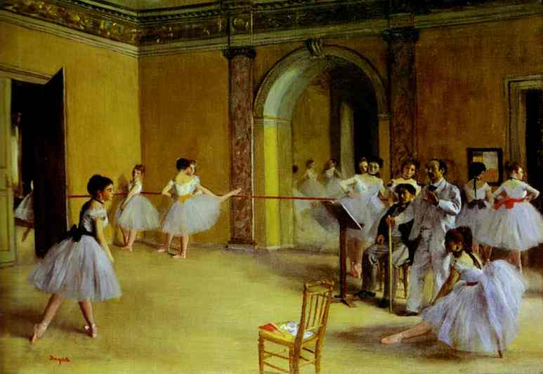 Order Art Reproductions Impressionism | Ballet Rehearsal on the Set by Edgar Degas | TopImpressionists.com