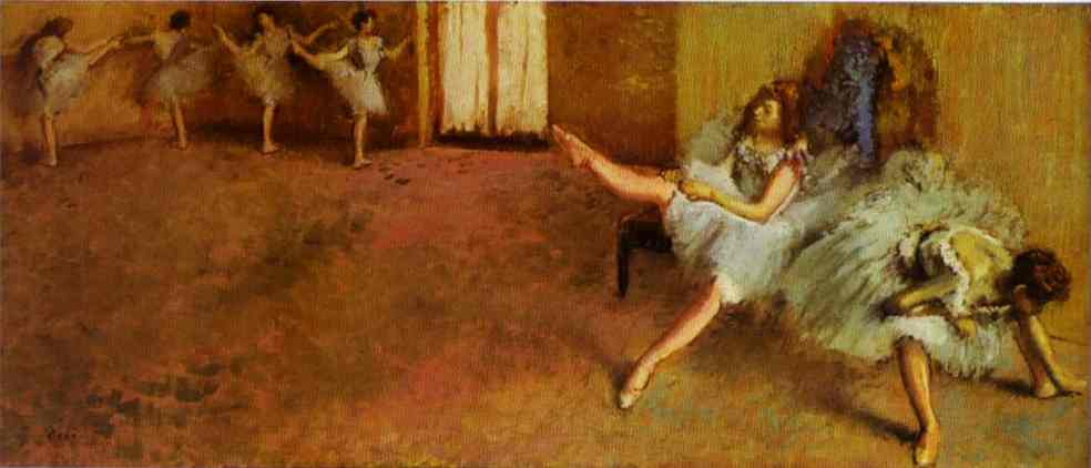 famous painting Before the Ballet of Edgar Degas