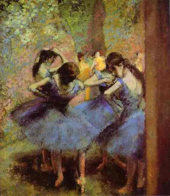 famous painting Blue Dancers of Edgar Degas