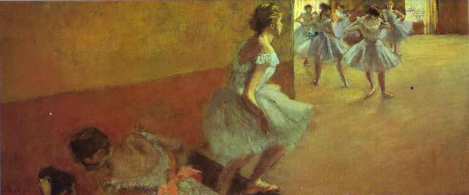 famous painting Dancers Climbing a Stair of Edgar Degas