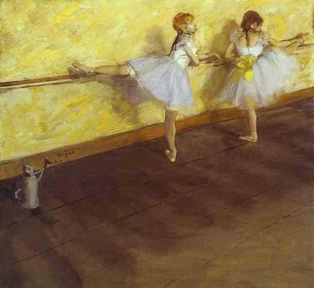 famous painting Dancers Practising at the Bar of Edgar Degas