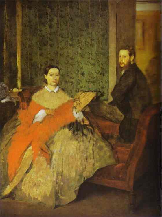 famous painting Portrait of Edmondo and Thérèse Morbilli of Edgar Degas