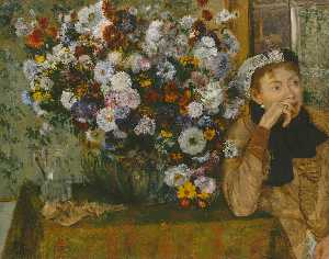 Edgar Degas - Woman with Chrysanthemums