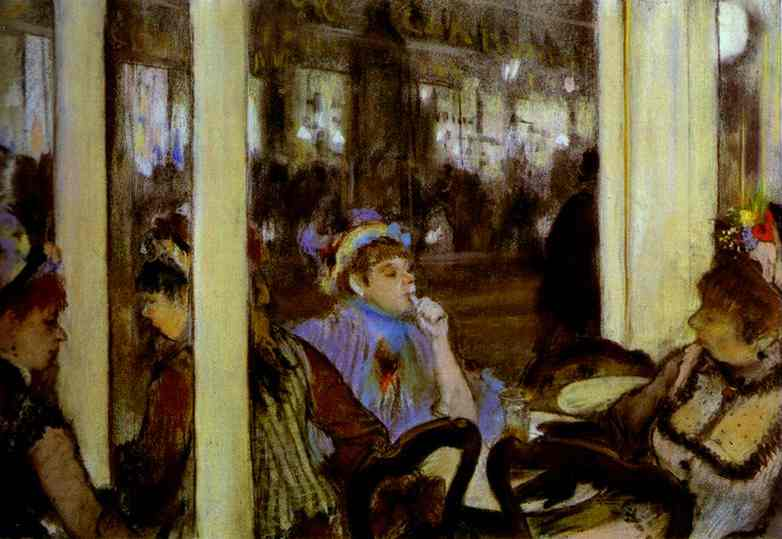 famous painting Women, on a Cafe Terrace of Edgar Degas