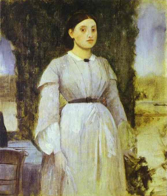 famous painting Young Woman Standing Next to a Table of Edgar Degas