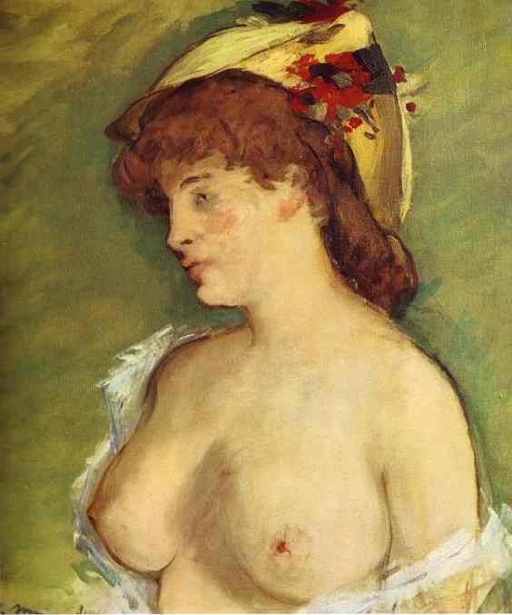famous painting Blonde with Bare Breasts of Edouard Manet