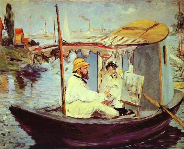 famous painting Claude Monet Painting on His Studio Boat of Edouard Manet