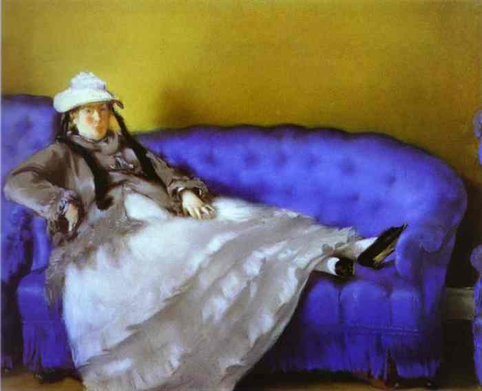 famous painting Portrait of Mme. Manet on a Blue Sofa of Edouard Manet