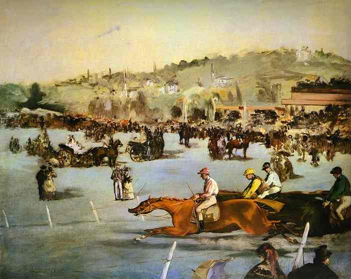famous painting Racecourse in the Bois de Boulogne of Edouard Manet