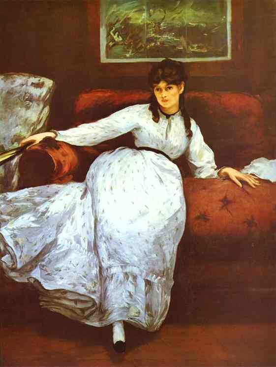 Buy Museum Art Reproductions Impressionism | Repose (Berthe Morisot) by Edouard Manet | TopImpressionists.com