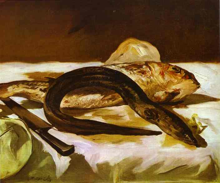famous painting Still Life with Eel and Red Muller of Edouard Manet