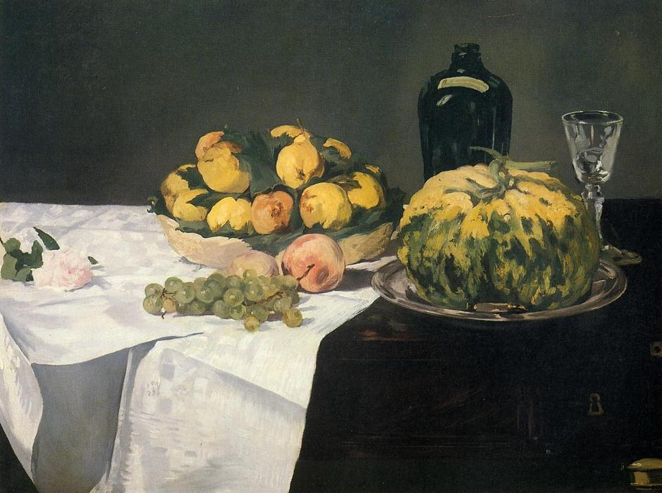 famous painting Still Life with Melon and Peaches of Edouard Manet