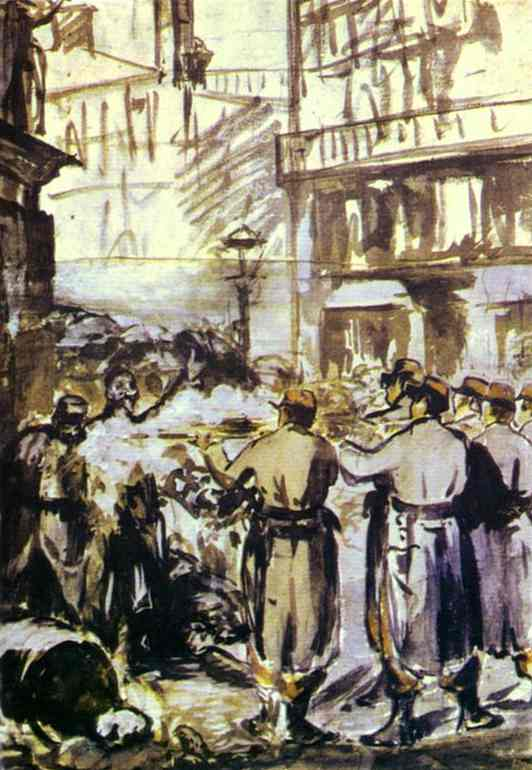famous painting The Barricade (Civil War) of Edouard Manet
