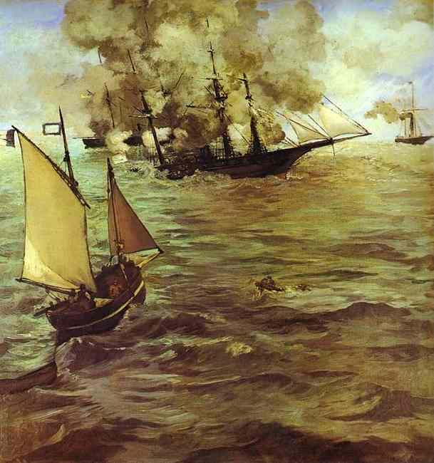 famous painting The Battle of the Kearsarge and the Alabama of Edouard Manet